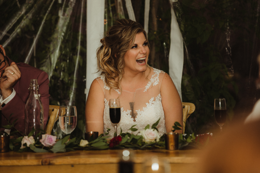 Twenty Mile House Wedding, photo of bride laughing during toasts