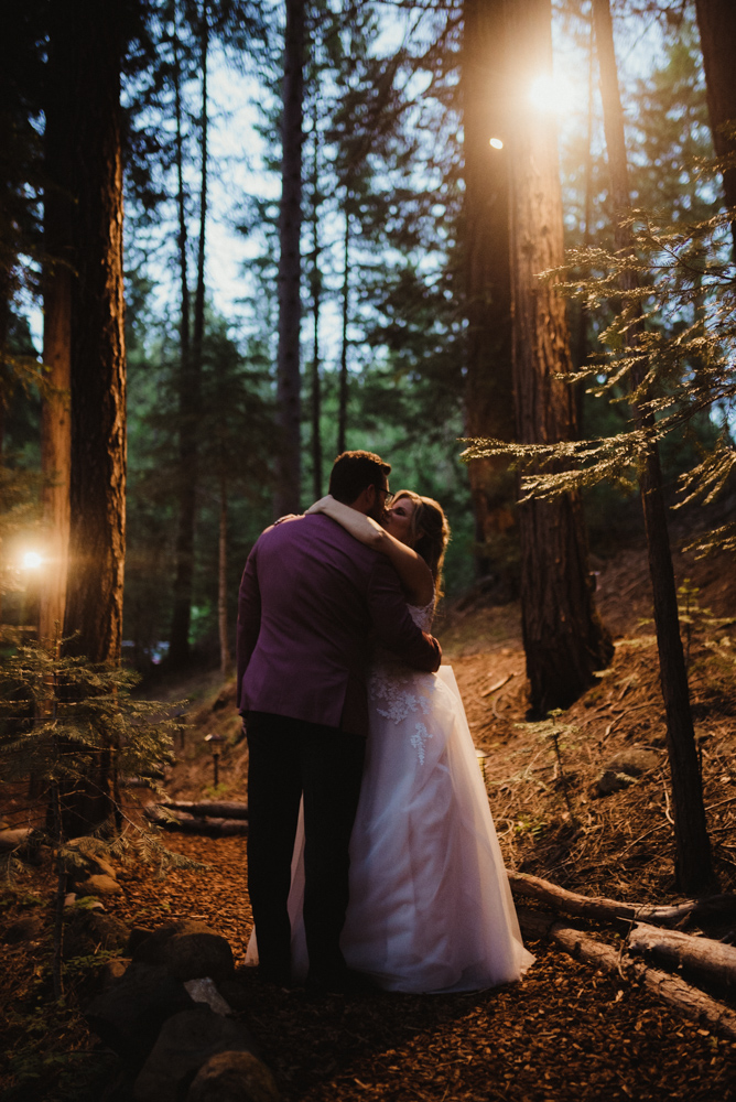 Twenty Mile House Wedding, photo of couple on a trail at night