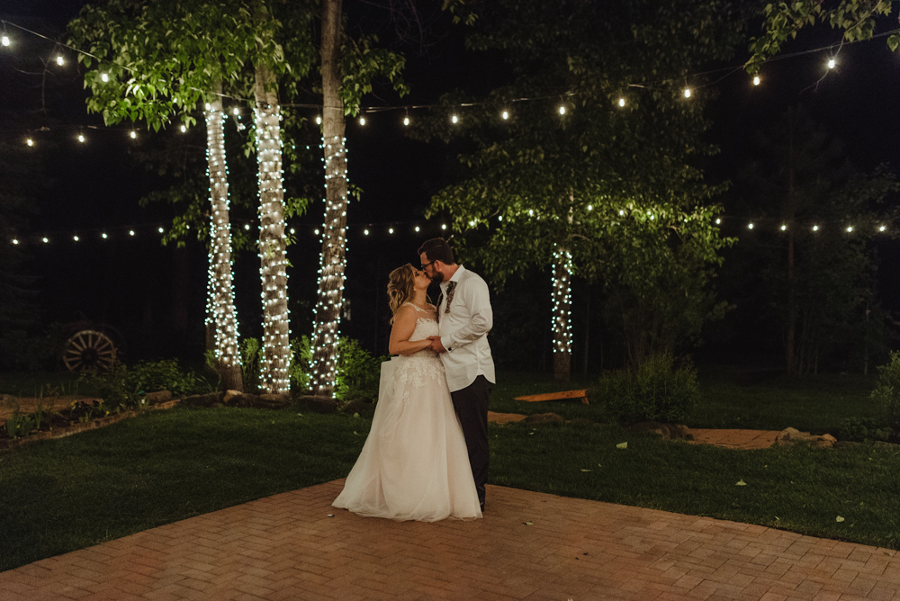 Twenty Mile House Wedding, photo of couple with string lights