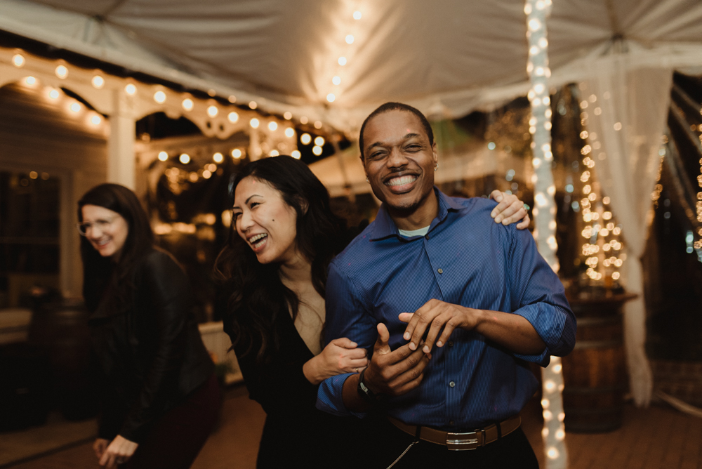 Twenty Mile House Wedding, photo of couple dancing in a tent