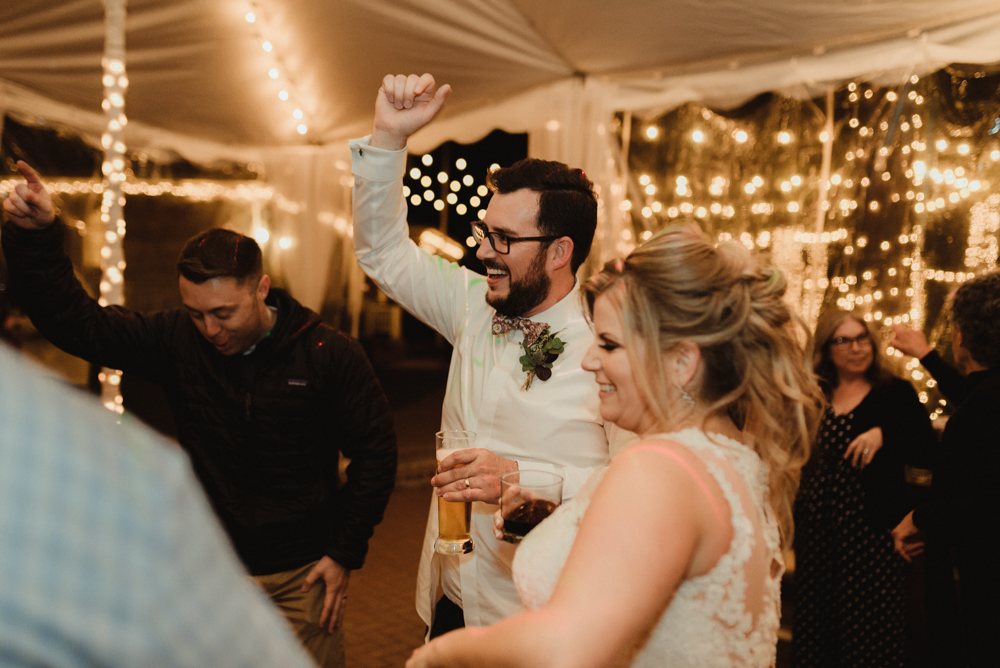 Twenty Mile House Wedding, photo of groom cheering