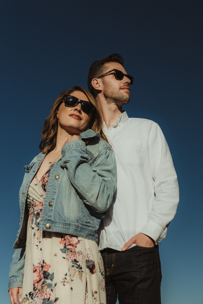 Lake Tahoe Engagement session, couple wearing sunglasses photo