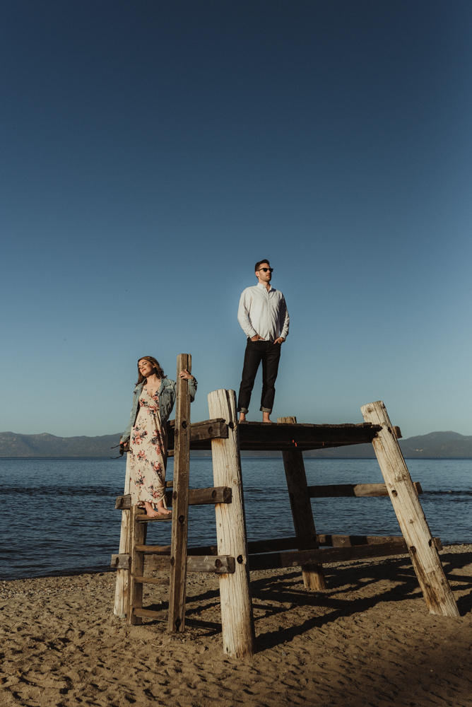 Lake Tahoe Engagement session, couple's editorial photo
