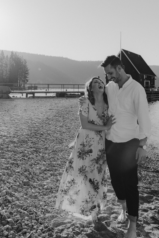 Lake Tahoe Engagement session, couple walking on the shore photo