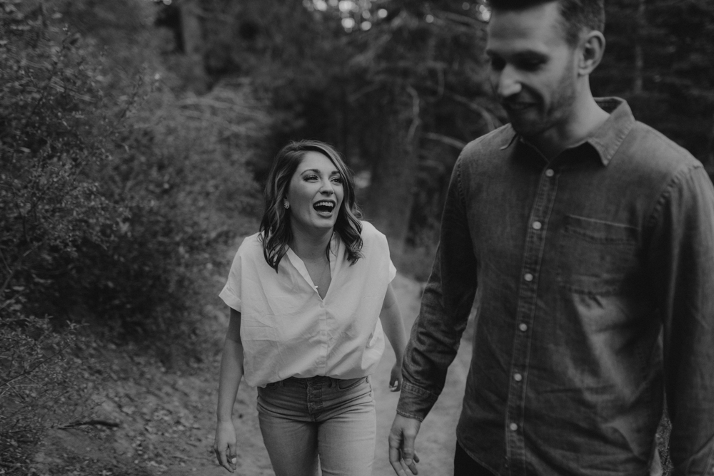 Lake Tahoe Engagement session, couple walking on a trail photo