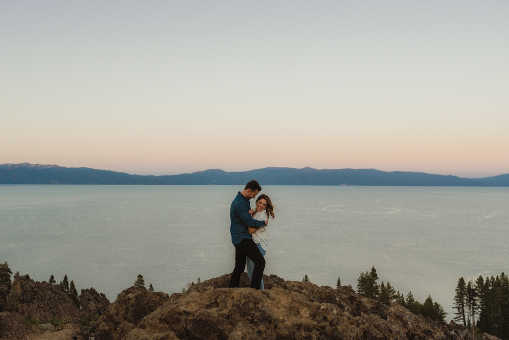Lake Tahoe Engagement session, couple on a cliff during sunset photo