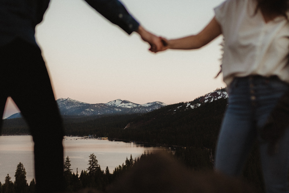 Lake Tahoe Engagement session, couple framing the lake photo