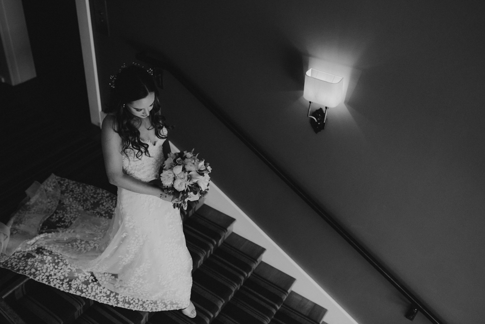 Martis Camp Wedding, bride walking down the stairs photo
