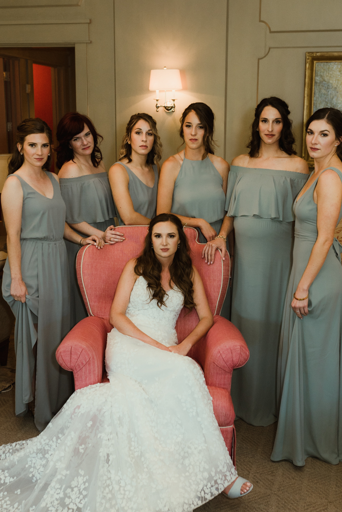 Martis Camp Wedding, bridal party photo inspired by vogue