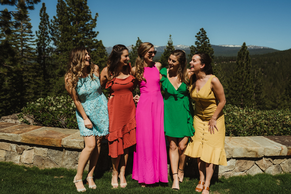Martis Camp Wedding, guests wearing bride colors photo