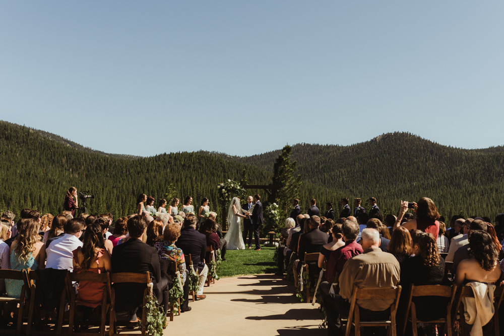Martis Camp Wedding, wide angle photo of the ceremony