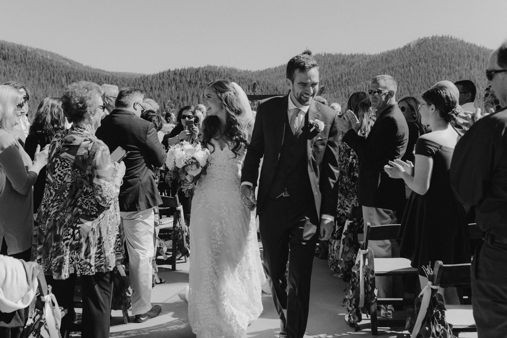 Martis Camp Wedding, couple walking down the aisle photo in b&w