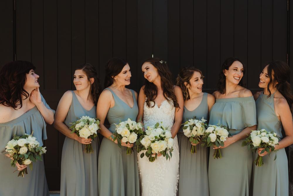 Martis Camp Wedding, bridal party smiling photo