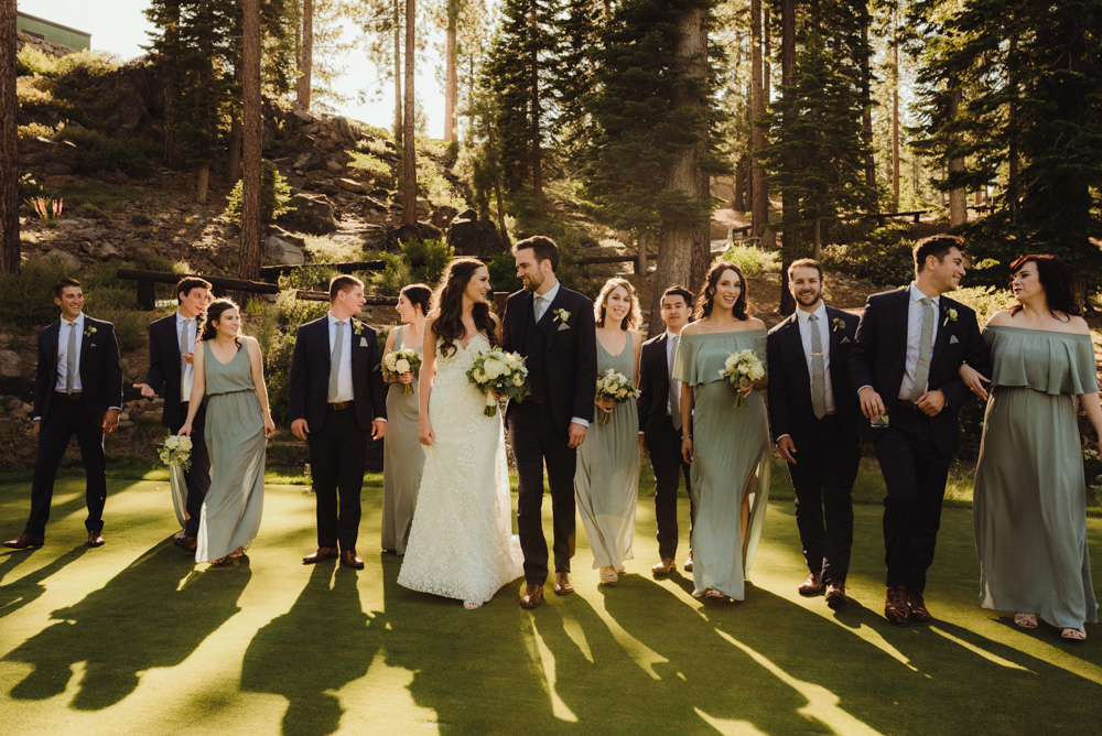 Martis Camp Wedding, bridal party photo