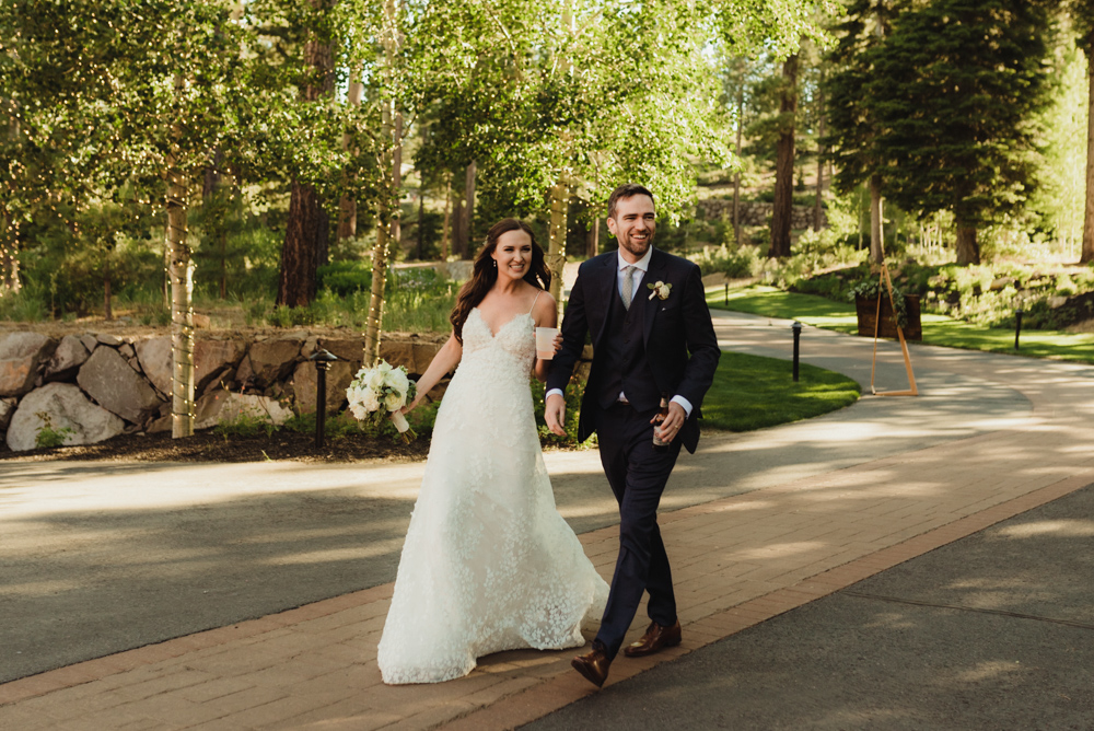 Martis Camp Wedding, couple's grand entrance photo