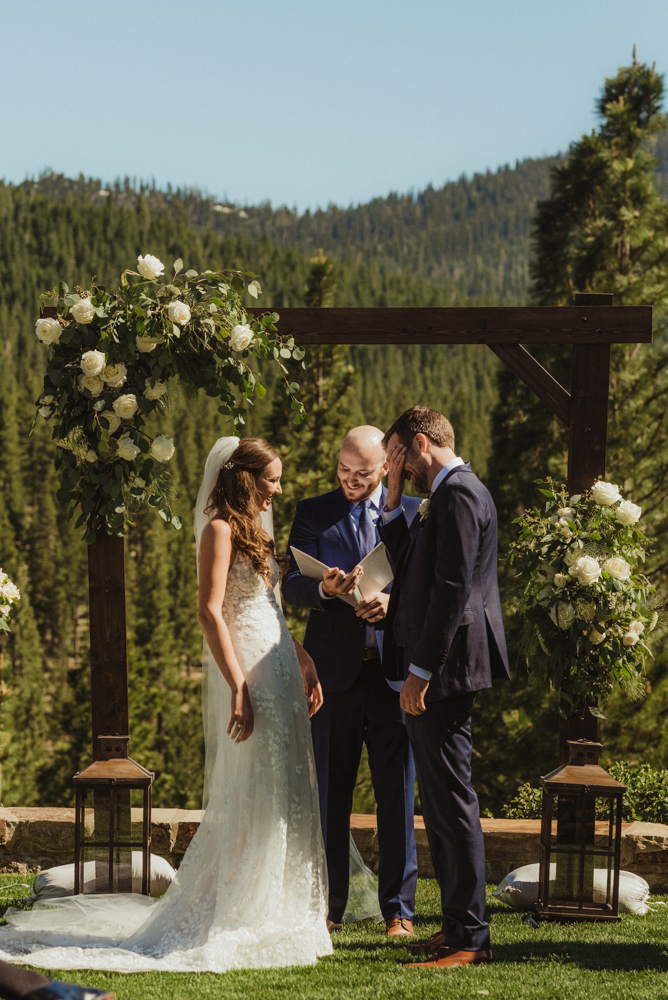 Martis Camp Wedding, couple smiling during the ceremony photo