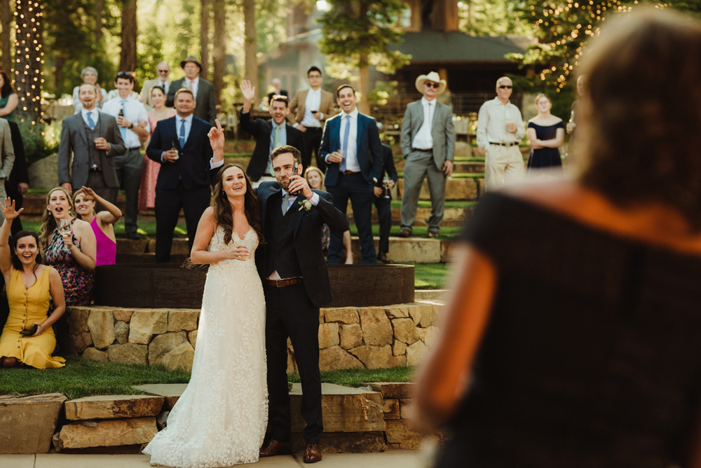 Martis Camp Wedding, couple laughing (candid photo)
