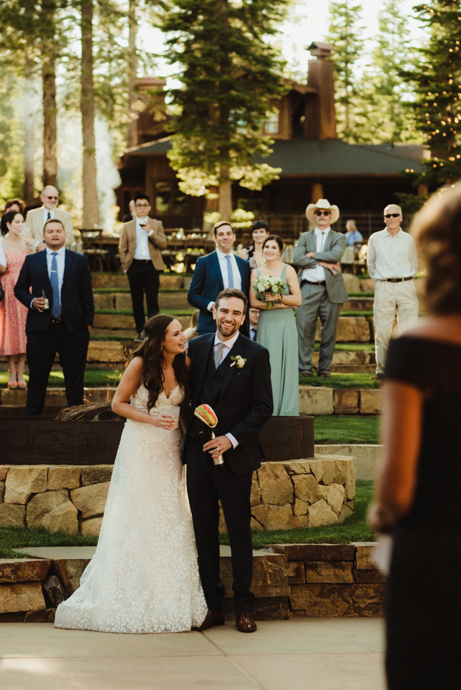 Martis Camp Wedding, photo of a couple receiving a taco bell themed gift