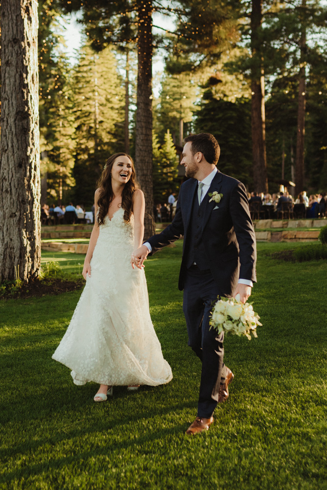 Martis Camp Wedding, couple walking photo