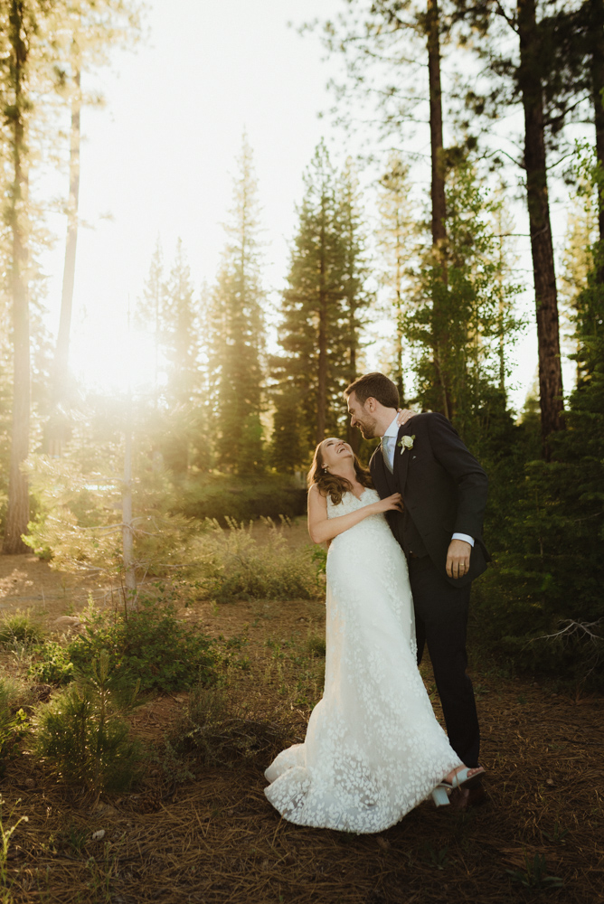 Martis Camp Wedding, couple dancing in the forest photo