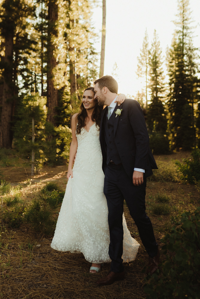 Martis Camp Wedding, couple walking in the forest photo