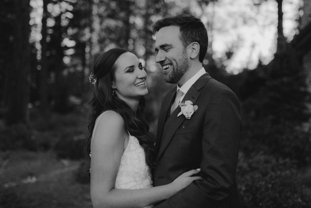 Martis Camp Wedding, candid shot of couple
