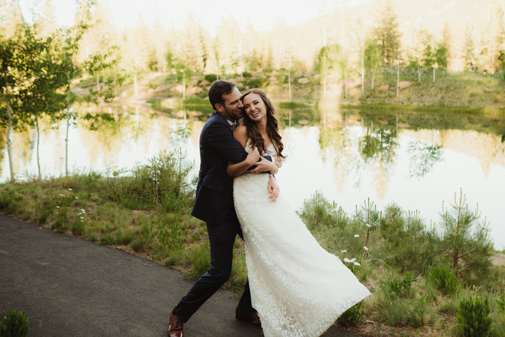 Martis Camp Wedding, playful photo of couple