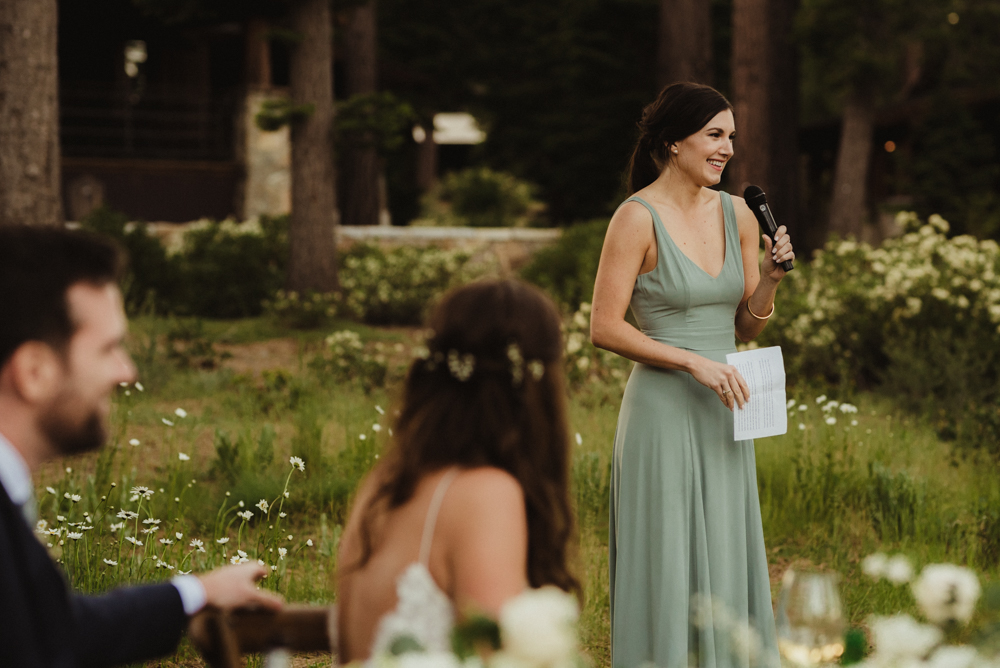 Martis Camp Wedding, maid of honor speech photo
