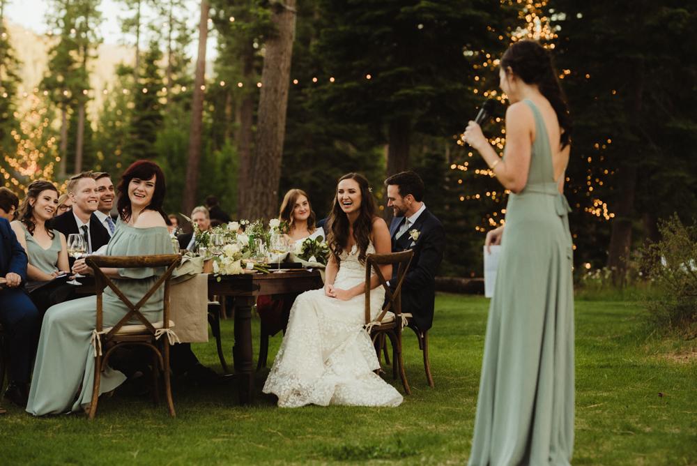 Martis Camp Wedding, MOH toasting the couple photo