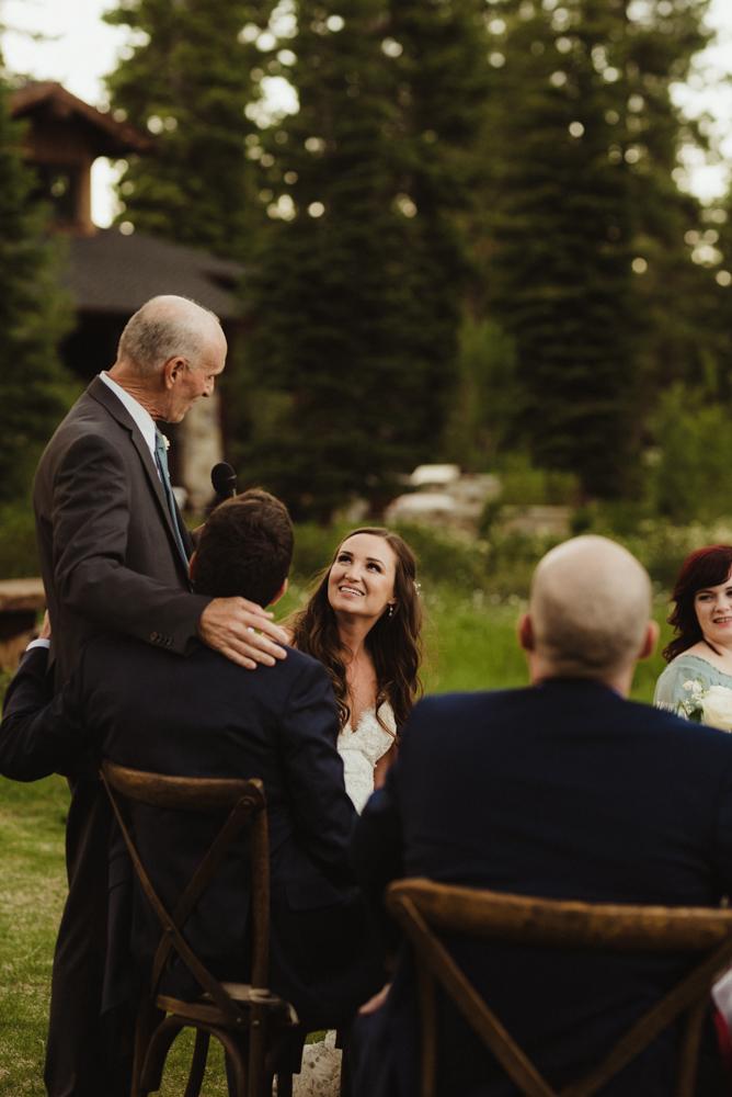 Martis Camp Wedding, brides dad giving his speech photo