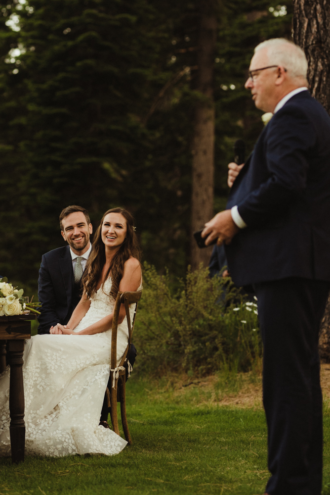 Martis Camp Wedding, couple during the toasts photo