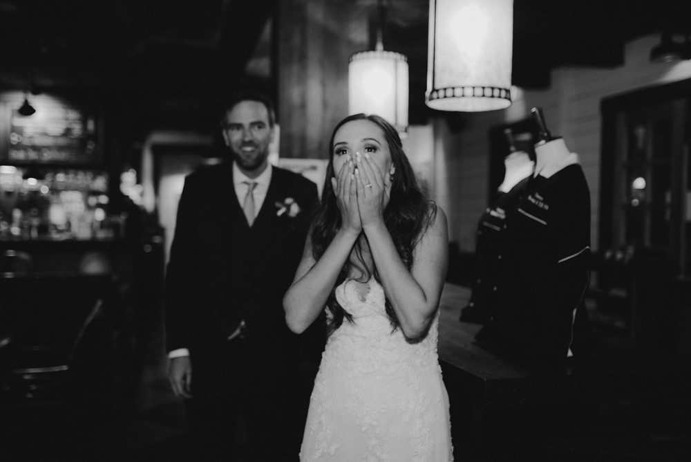 Martis Camp Wedding, bride's reaction to a surprise photo