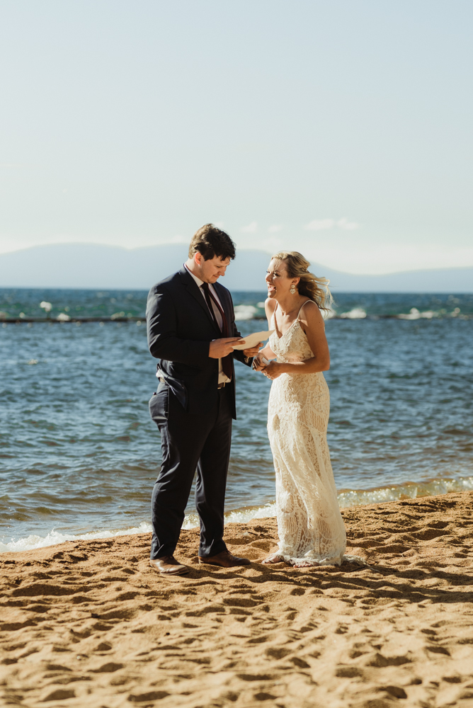 Lake Tahoe Elopement, photo of couple reading letters to each other before the ceremony