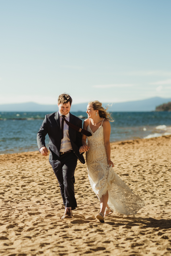 Lake Tahoe Elopement, photo of couple walking on the shore