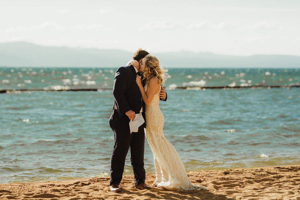 Lake Tahoe Elopement, photo of couple embracing each other
