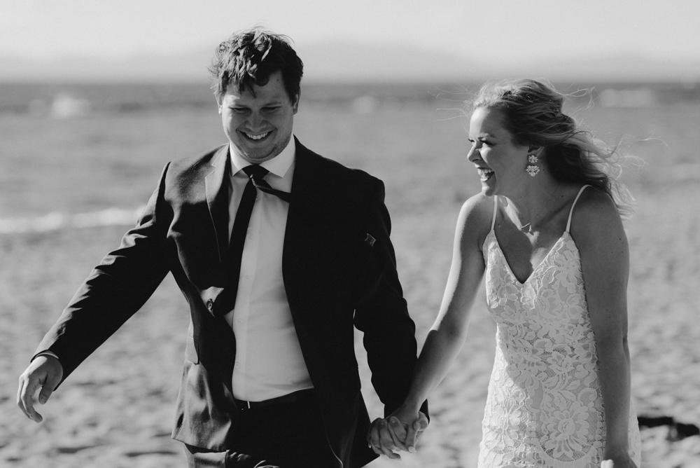 Lake Tahoe Elopement, photo of couple laughing