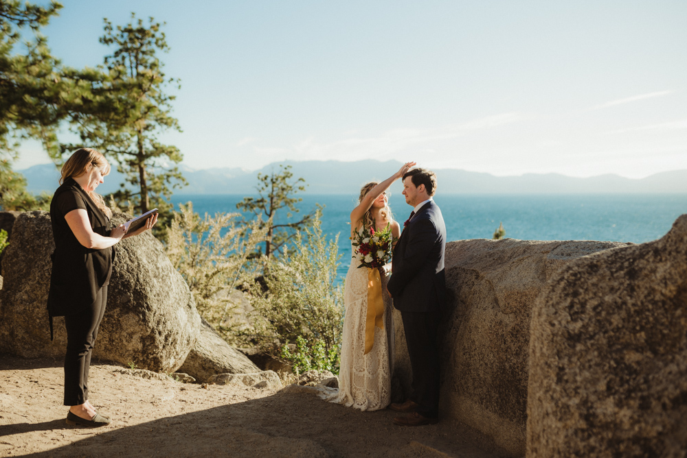 Lake Tahoe Elopement, photo of couple and the lake in the background