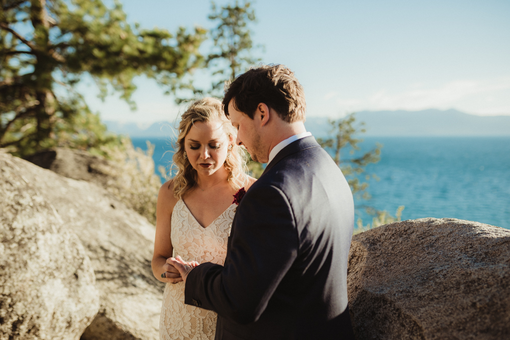 Lake Tahoe Elopement, photo of couple exchanging rings