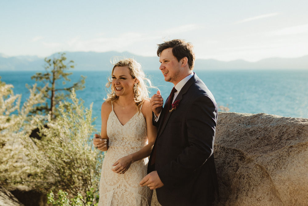 Lake Tahoe Elopement, photo of couple smiling
