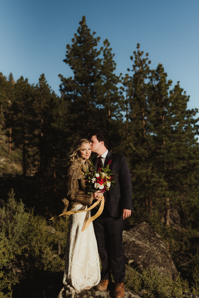 Lake Tahoe Elopement, photo of couple standing on a rock in Tahoe