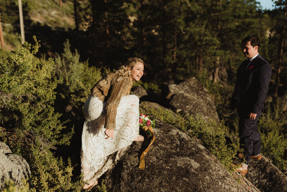 Lake Tahoe Elopement, photo of couple climbing a rock