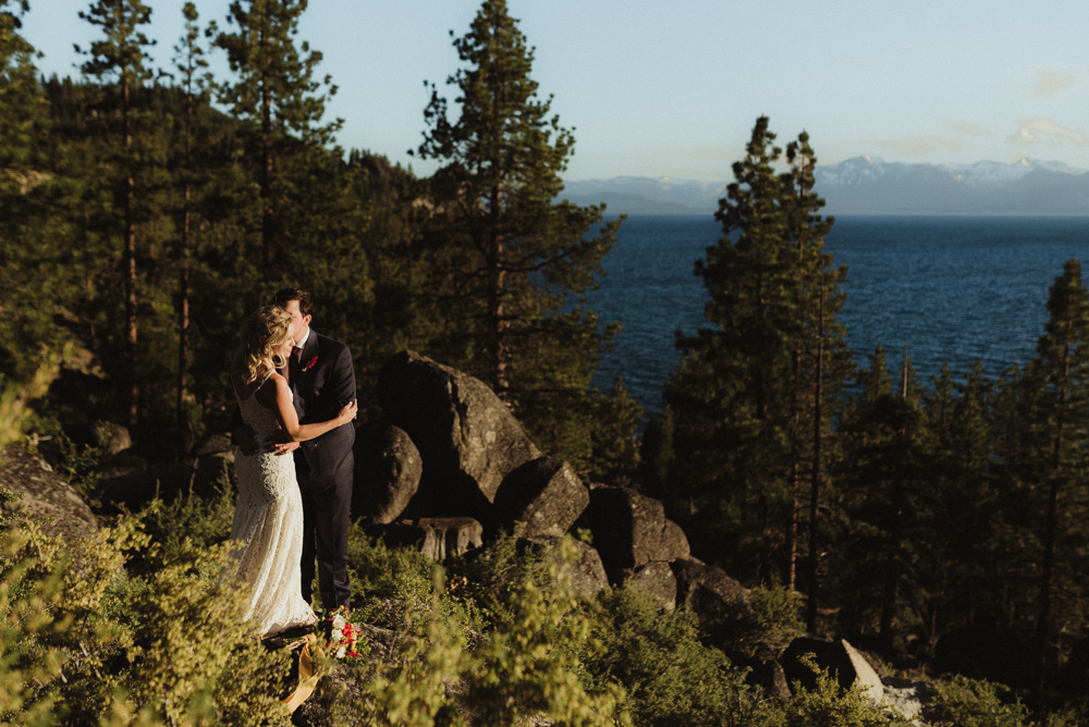 Lake Tahoe Elopement, photo of couple and Lake Tahoe in the background