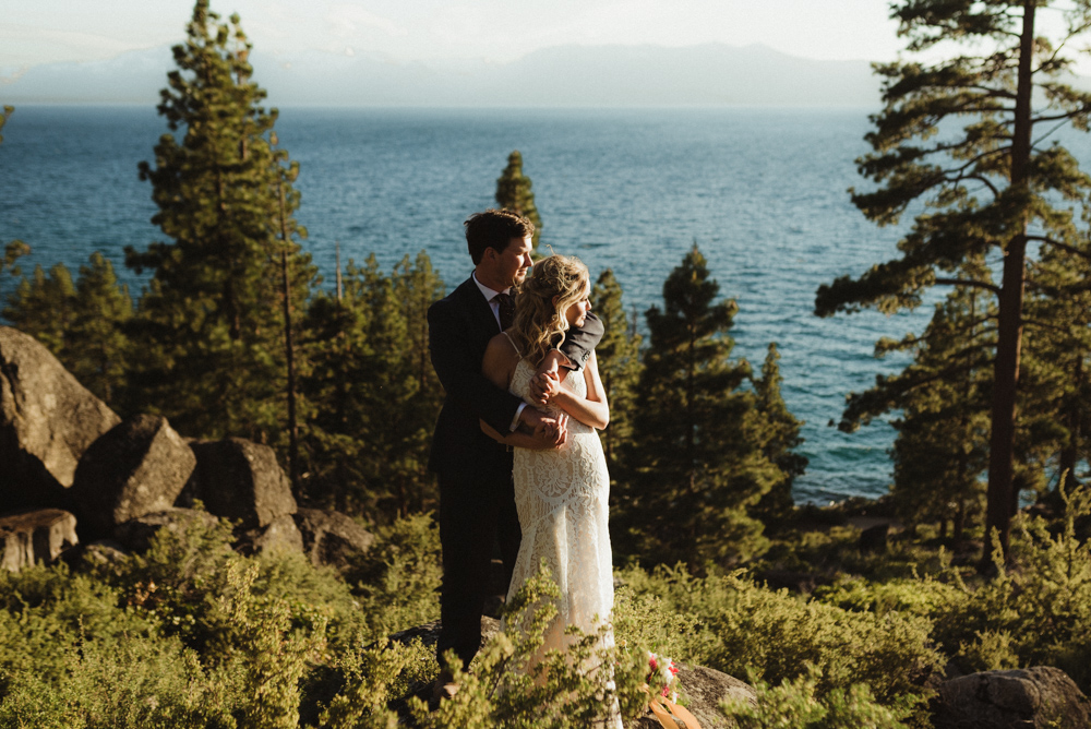 Lake Tahoe Elopement, photo of couple overlooking Tahoe