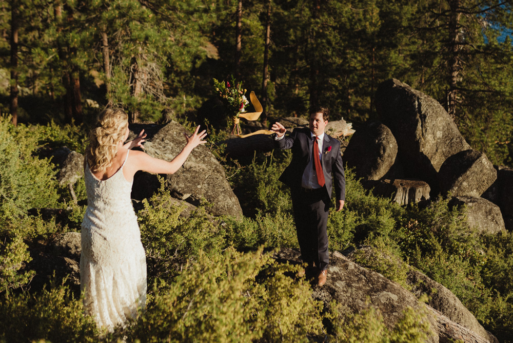Lake Tahoe Elopement, photo of bride throwing bouquet
