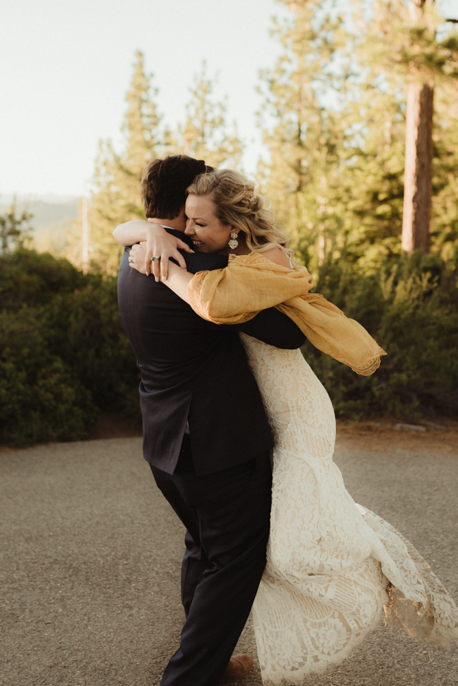 Lake Tahoe Elopement, photo of couple playing around