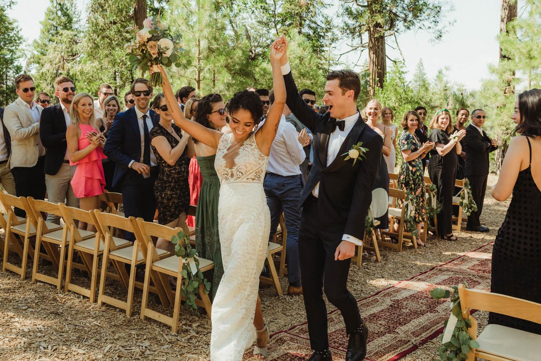 Rush Creek Lodge Wedding, photo of couple walking down the aisle photo