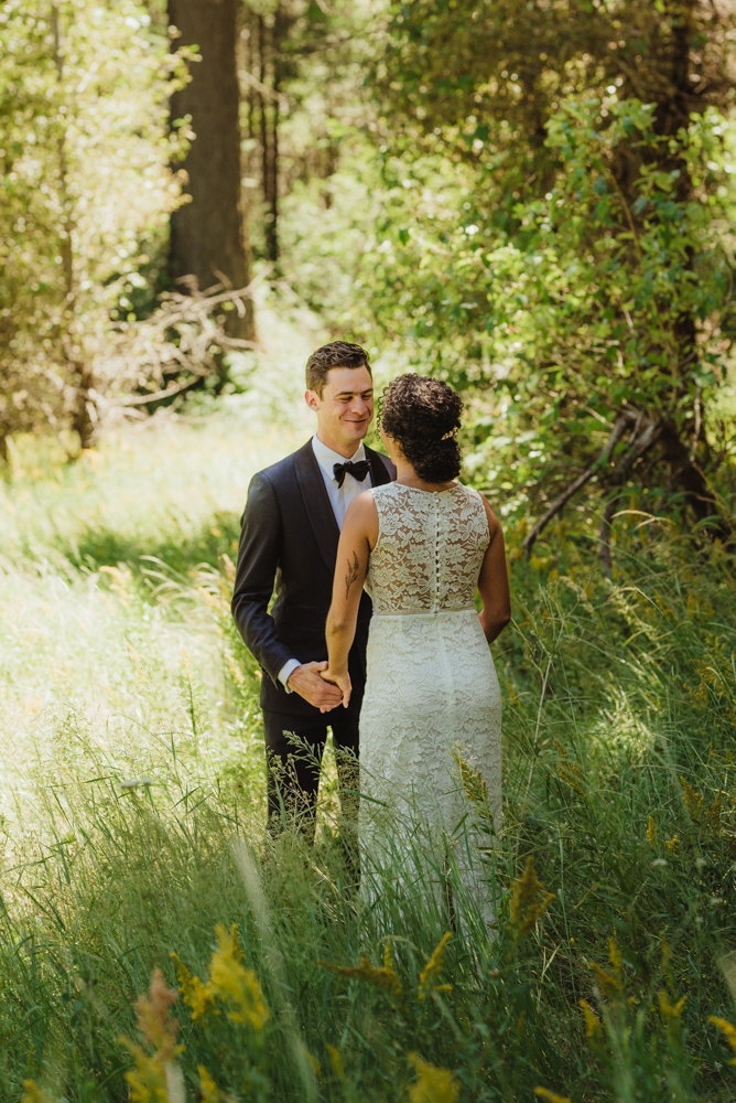 Rush Creek Lodge Wedding, photo of grooms' reaction to seeing his bride for the first time