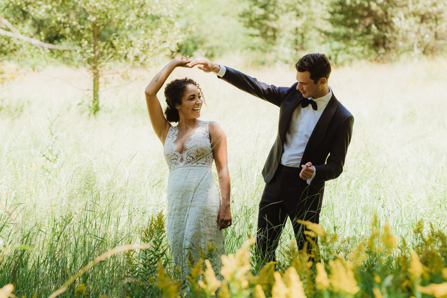 Rush Creek Lodge Wedding, photo of couple in the meadows, outside of yosemite