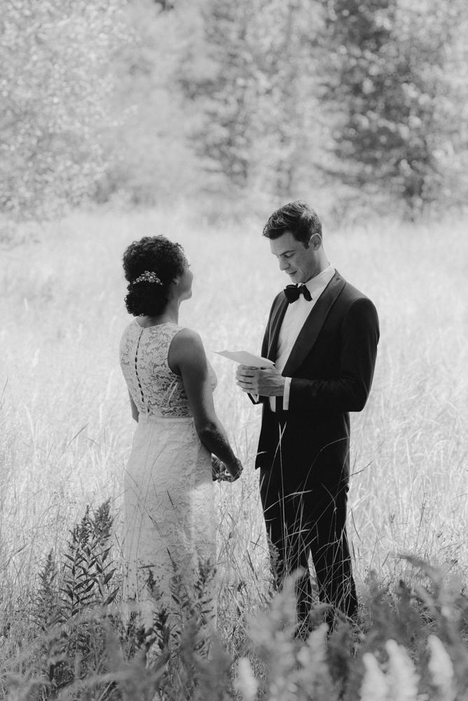 Rush Creek Lodge Wedding, photo of groom reading his vows photo