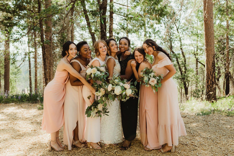 Rush Creek Lodge Wedding, photo of bridesmaids with bride's mom